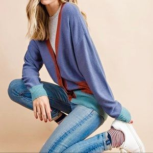 HP! New Cozy knit colorblock cardigan with pockets
